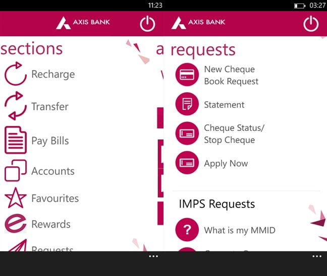 A screenshot of Axis Mobile